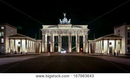 Brandenburg Gate, Berlin, Germany. Night view of the iconic Brandenburg Gate landmark in the centre of Berlin Germany.