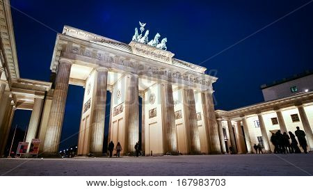Brandenburg Gate, Berlin, Germany. Dusk view of the iconic Brandenburg Gate landmark in the centre of Berlin Germany.