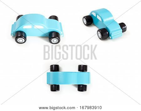 A blue toy car front side and top view on white background.