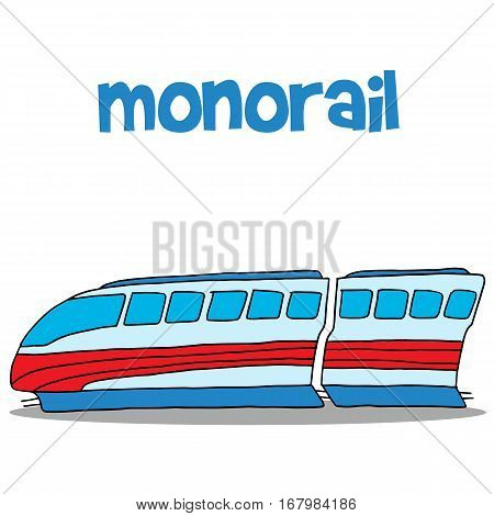 Vector art of monorail hand draw collection stock