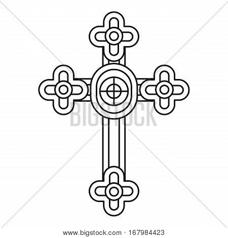 Christian cross jewelry icon. Outline illustration of christian cross jewelry vector icon for web