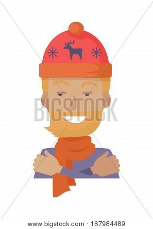 Hat. Young man in knitted red hat with blue deer and two snowflakes. Warm hat and orange scarf. Male with red beard in blue sweater hugging himself. Coldness. Flat design. Vector illustration