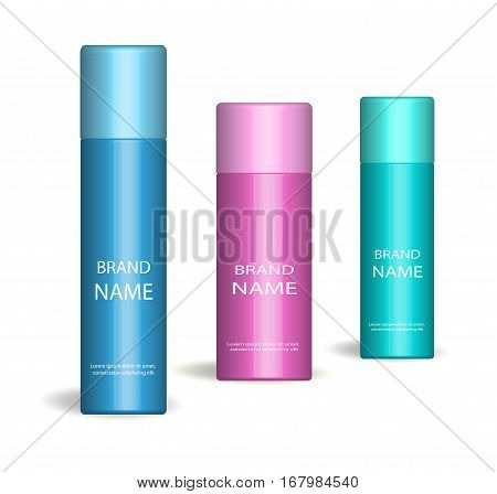 Realistic spray set. Isolated on white background. 3d Cosmetics bottle, deodorant mock-up. Product packaging collection. Vector illustration