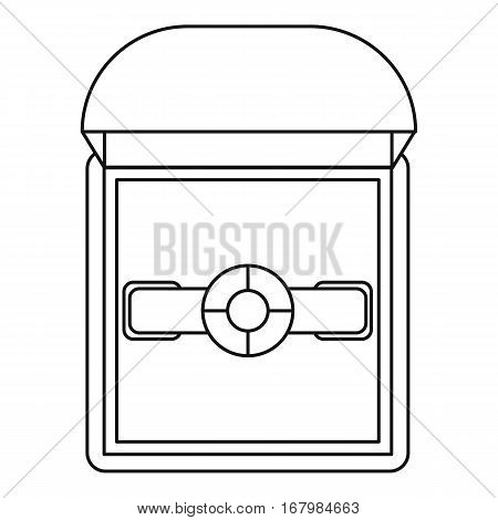 Ring in a gift box icon. Outline illustration of ring in a gift box vector icon for web