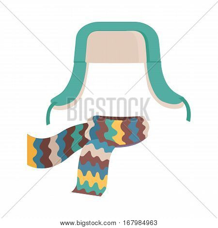 Hat. Headwear with long ear flaps and bright, colourful scarf. Green and white hat. Scarf with yellow, red, brown, green, violet waves on white background. Flat design. Vector illustration