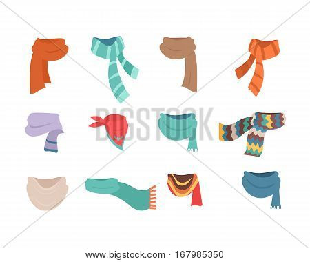 Set of scarves for boys and girls in cold weather. Stylish scarves on white background. Clothes for winter and autumn. Blue, red, brown, violet, brown, white and striped scarves. Vector illustration.