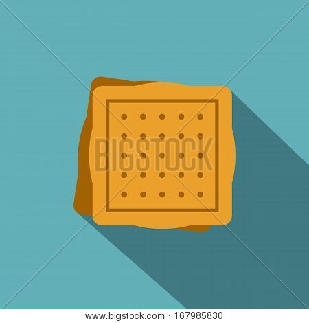 Square cookies icon. Flat illustration of square cookies vector icon for web on baby blue background
