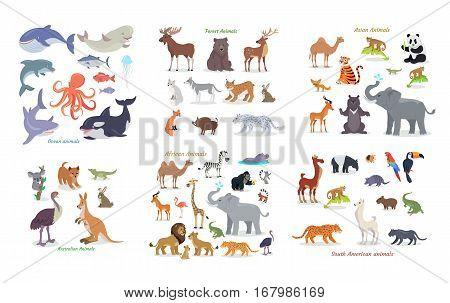Ocean animals. Forest animals. Asian animals. Australian animals. African animals. South american animals. Set of vector cartoon creatures from different continents. Illustrations in flat style
