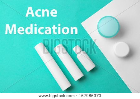 Beauty and skin care concept. Acne medication cosmetic on colorful background