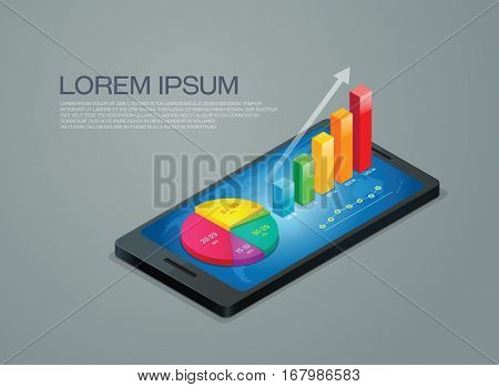 business graph mobile phone presentation background vector