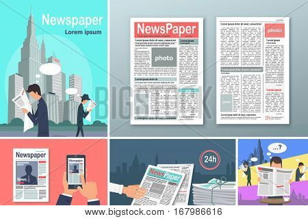 Newspapers. News is Available 24 h Concept Banners Set. People read newspapers in big cities. Source of information. Person reading newspaper in cafe. Newspapers in your phone. Vector illustration.