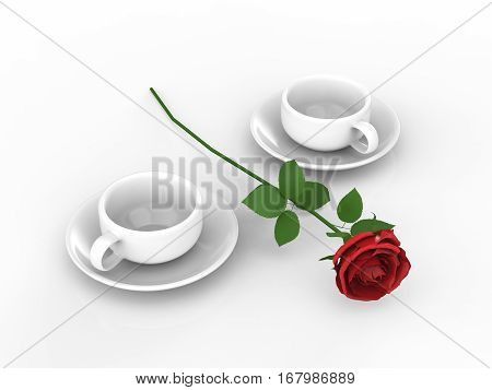 3D illustration rouse and two white cups and saucers