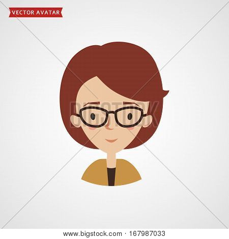Woman wearing glasses. Vector avatar for businesswoman or teacher. Сute flat icon isolated on white background.