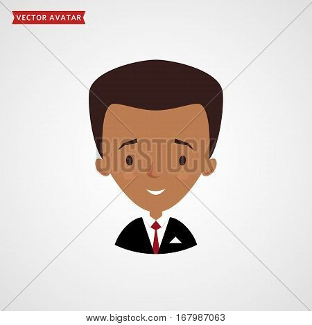 Face of black man. Сute avatar. Businessman in formal suit. Vector icon isolated on white background.