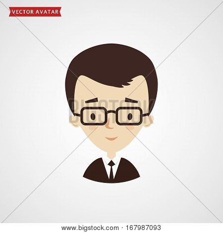 Face of young man. Сute avatar. Businessman in formal suit. Vector icon isolated on white background.