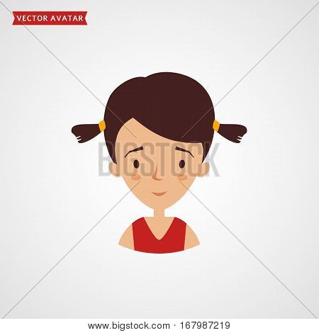 Face of a cute girl with two tail hairstyle. Vector avatar. Flat icon isolated on white background.