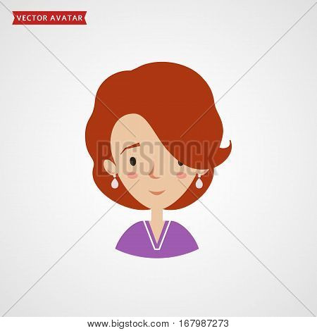 Face of a young pretty woman. Vector avatar. Сute flat icon isolated on white background.
