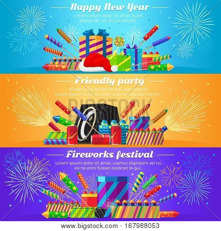 Happy New Year. Friendly party. Fireworks festival. Set fireworks. Different kinds of bright and great firecrackers. Interesting decorations. Colourful backgrounds. Flat design. Vector illustration