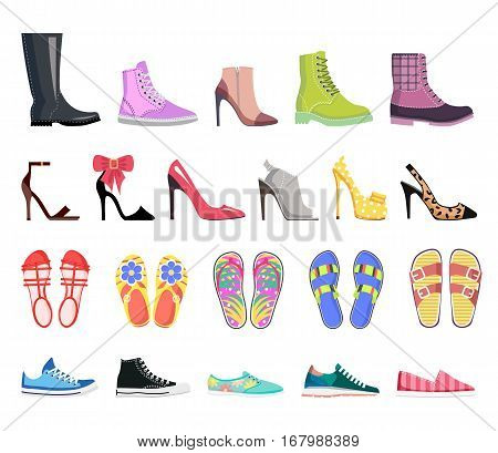 Collection of shoes types icons. Modern colourful female footwear. Casual, classic, platform, heel, ballet, spiked, sandals, moccasins, leather flip-flop loafer Flat design Vector illustration