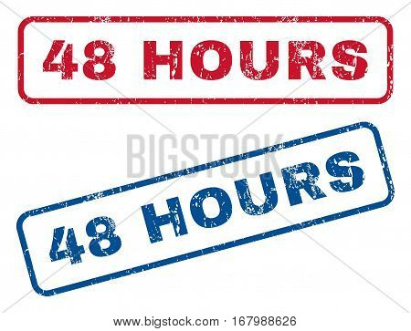 48 Hours text rubber seal stamp watermarks. Vector style is blue and red ink tag inside rounded rectangular shape. Grunge design and scratched texture. Blue and red signs.