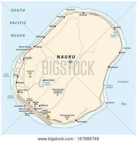 Vector road map of the Republic of Nauru