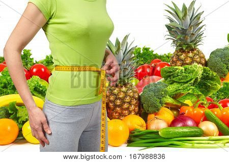 Slender Woman, Fruits And Vegetables