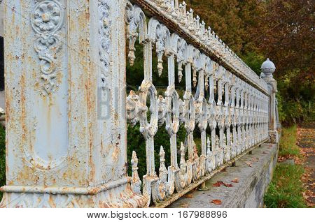 Forced perspective of rusty ornate fence with crackling paint