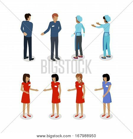 Set of sellers characters vector templates. Flat style design. Man and woman selling goods. Supermarket personnel, shopping in mall concept. Salesman and saleswoman. Shop assistant, clerk illustration
