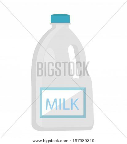 Milk in plastic bottles icon flat style. Isolated on white background. Vector illustration