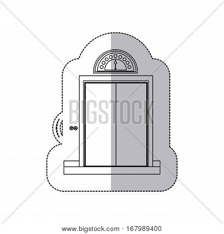 middle shadow monochrome sticker with elevator closed door vector illustration