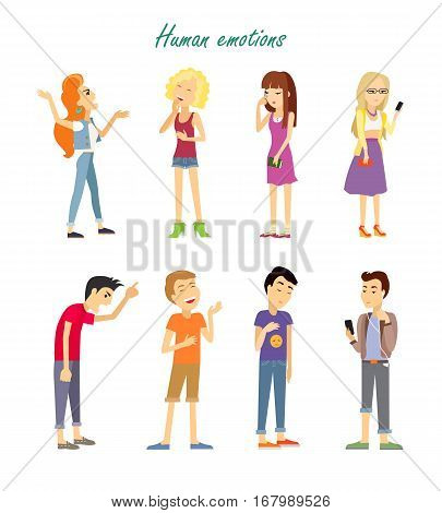 Set of human emotions. Quarrel. Indifference. Love. Parting. Phlegmatic, sanguine, choleric, melancholic temperament of teenagers. Man and woman in different emotional states. Vector illustration