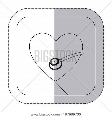 middle shadow monochrome sticker with heart and sthetoscope in frame vector illustration