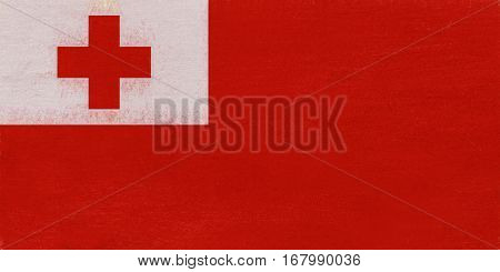 Illustration of the national flag of Tonga with a grunge texture.