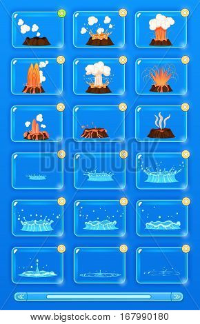 Natural disaster icons set with volcano erupting and flood. Volcano magma blowing up, lava flowing down vector set. Water flowicons. Crater mountain volcano. Volcano erupt ash. Collection of icons