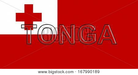 Illustration of the national flag of Tonga with the country written on the flag
