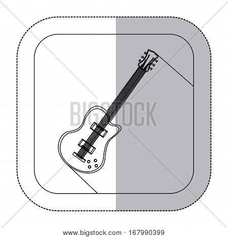 middle shadow monochrome sticker with electric guitar in frame vector illustration