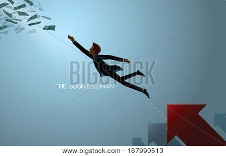 business man reach money abstract background vector
