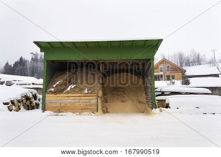 Sawdust And Woodchip For Heating Near Sawmill In Winter