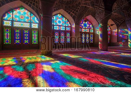 It is known as Masjed-e Naseer ol Molk in Persian and was built in 1876 - 1888. Praying room of the beautiful Nasir Al-Mulk Mosque or Pink Mosque a traditional mosque located in Goad-e-Araban place.