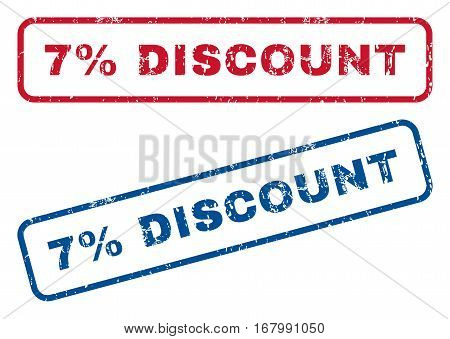 7 Percent Discount text rubber seal stamp watermarks. Vector style is blue and red ink caption inside rounded rectangular shape. Grunge design and dirty texture. Blue and red signs.