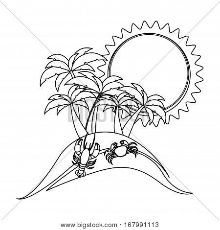 monochrome contour with beach with crab and lobster vector illustration