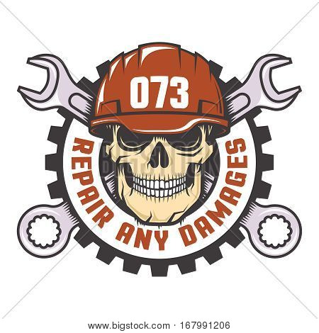 Skull in a red helmet with crossed wrenches - Workshop logo. Vector illustration.