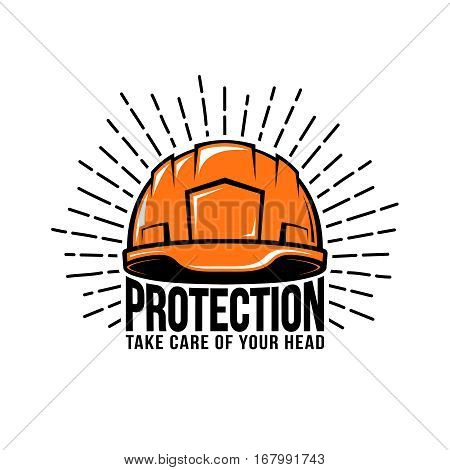 Oldschool retro hipster logo with worker builder helmet or hard hat sunburst inscription on a white background. Vector illustration.