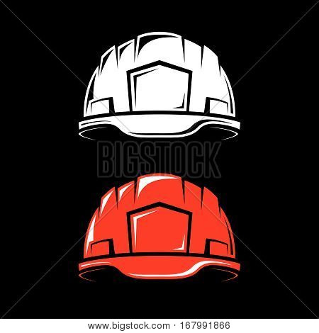 Working hard hat in a cartoon style on a black background. Vector illustration.