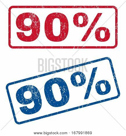 90 Percent text rubber seal stamp watermarks. Vector style is blue and red ink tag inside rounded rectangular shape. Grunge design and dirty texture. Blue and red stickers.