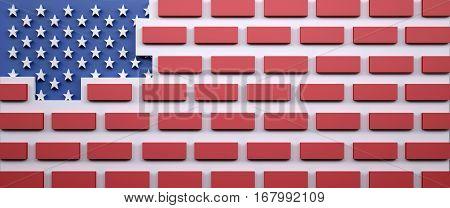 American Flag As A Brick Wall