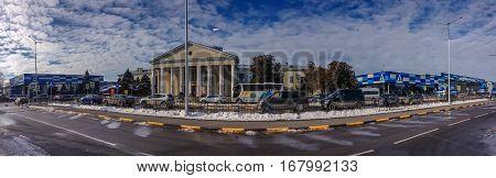 SIMFEROPOL CRIMEA UKRAINE - DEC 27 2016: Panoramic view to the passenger terminal of Simferopol international airport in Simferopol Ukraine on Dec 27 2016.