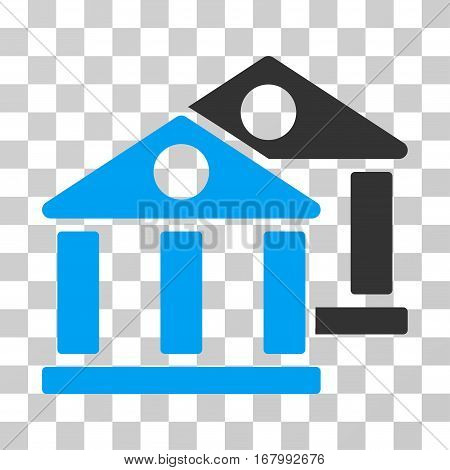 Banks icon. Vector illustration style is flat iconic bicolor symbol, blue and gray colors, transparent background. Designed for web and software interfaces.