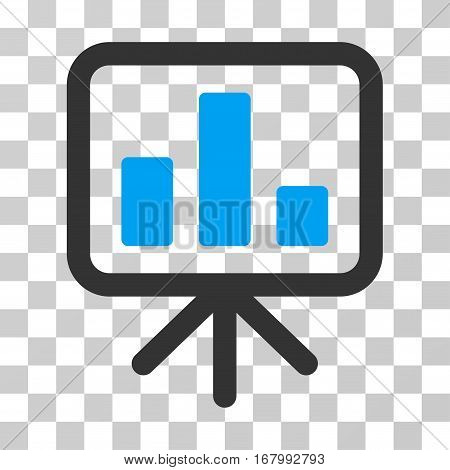 Bar Chart Display icon. Vector illustration style is flat iconic bicolor symbol, blue and gray colors, transparent background. Designed for web and software interfaces.