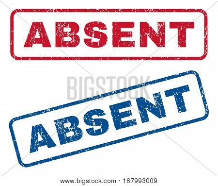 Absent text rubber seal stamp watermarks. Vector style is blue and red ink tag inside rounded rectangular banner. Grunge design and unclean texture. Blue and red emblems.